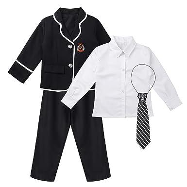 Kinder Jungen Mädchen Britischer Stil Schuluniform Anime Kostüm Klassische  Marine Matrosenanzug Langarm Mantel Hemd Krawatte Hosen Kariert Rock Set   ... d6c57addf6