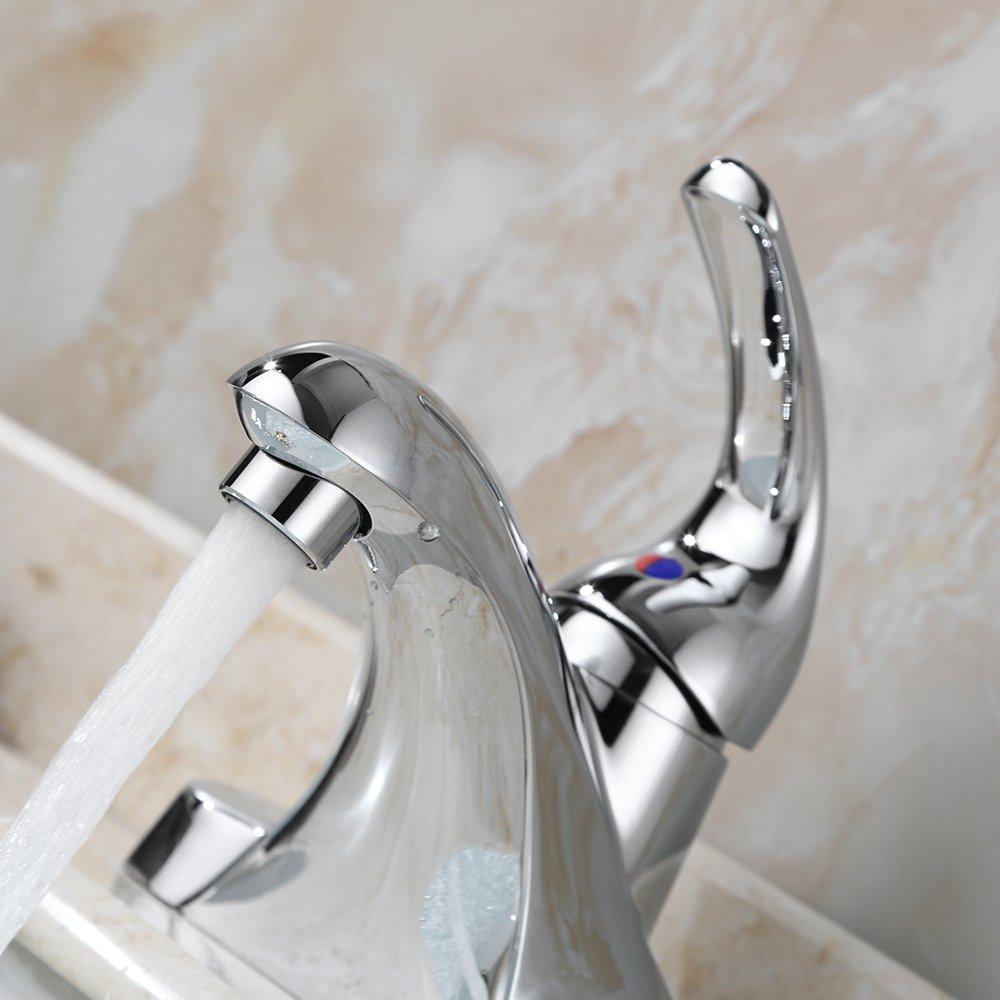 Parlos Single Handle Centerset Bathroom Sink Faucet with Drain ...