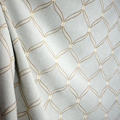 Lopez Mist Trellis Embroidered Fabric - Trellis Fabric