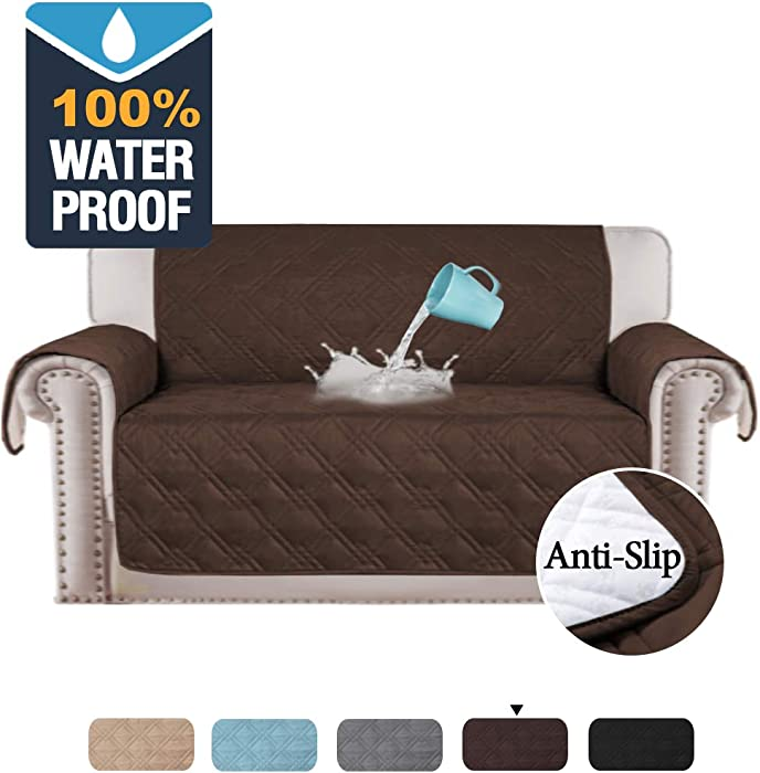 H.VERSAILTEX 100% Waterproof Loveseat Cover for Pets Premium Quilted Furniture Protector Sofa Slipcover for Love Seat Couch Covers Non-Slip Covers for Living Room (Loveseat Large: Brown)