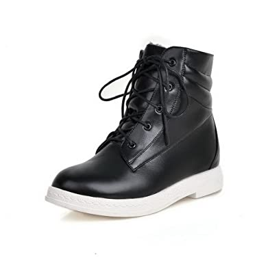 Women's Lace Up Round Closed Toe Low Heels Pu Low Top Boots