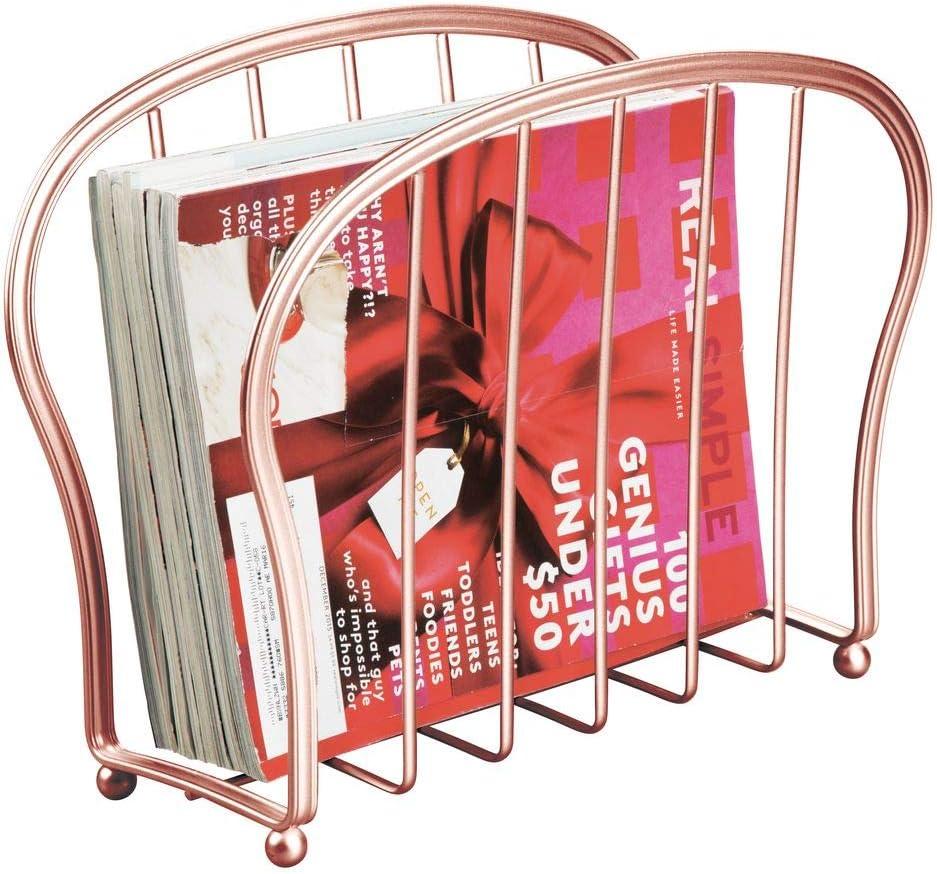 color bronce Organizador de revistas de pie para la sala de estar o el ba/ño Elegante portalibros de alambre de metal libros o tabletas mDesign Revistero de metal decorativo para revistas