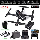 MJX Bugs 4W Foldable Drone with GPS, FULL HD 2K 5G WiFi Camera Bugs GO App Altitude Hold Track Flight 3400mAh Battery Double Charging OLED Screen Control Alarm Function (MJX B4W + 2 Battery + Handbag)