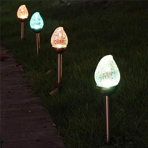 Mkiki Lámpara Solar LED Colorida para Exteriores, lámpara de jardín, Paisaje, Luces de césped Agrietado: Amazon.es: Hogar