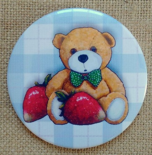 Pocket, Purse Mirror: 3.5: Cute Teddy Bear with Red Strawberries, Whimsical Art