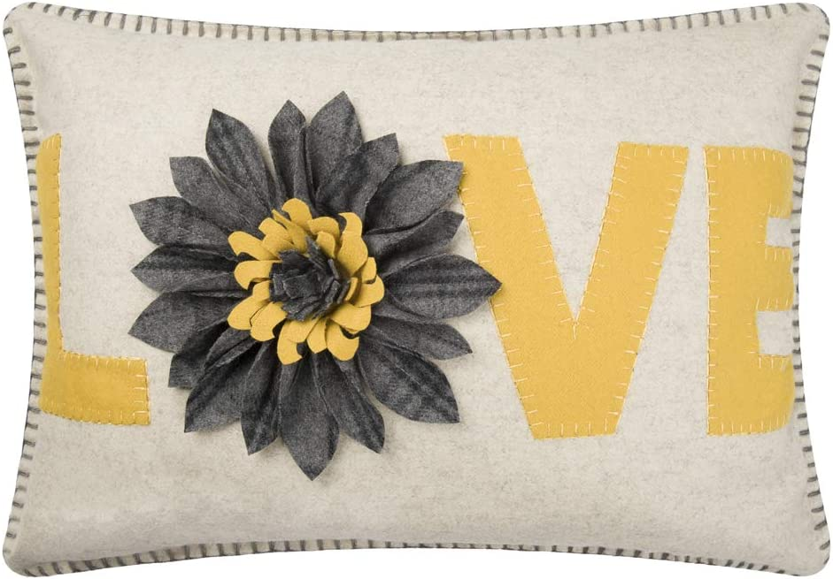 King Rose 3D Sunflower Love Applique Decorative Throw Pillow Case Rectangular Cushion Cover for Sofa Couch Chair Bed Living Room 14 x 20 Inches Yellow