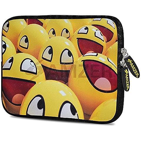 Amzer 7.75-Inch Designer Neoprene Sleeve Case Cover Pouch for Tablet, eBook and Netbook - Smiley Lot (Kindle Case Designer)