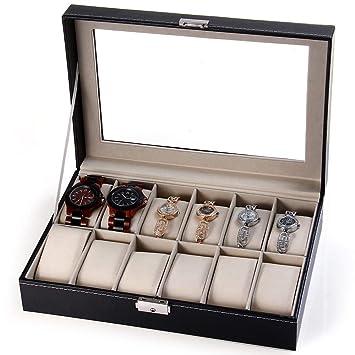Storage Boxes & Bins - Davitu 12 Grids Watch Display Case PU Leather Jewelry Storage Box