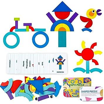 yoptote Puzzles Infantiles Educativos Juguetes de Tangram Madera Montessori 36PCS + 50 PCS Diseño Tarjetas Regalo para Niños y Niñas 3 4 5 6 Años