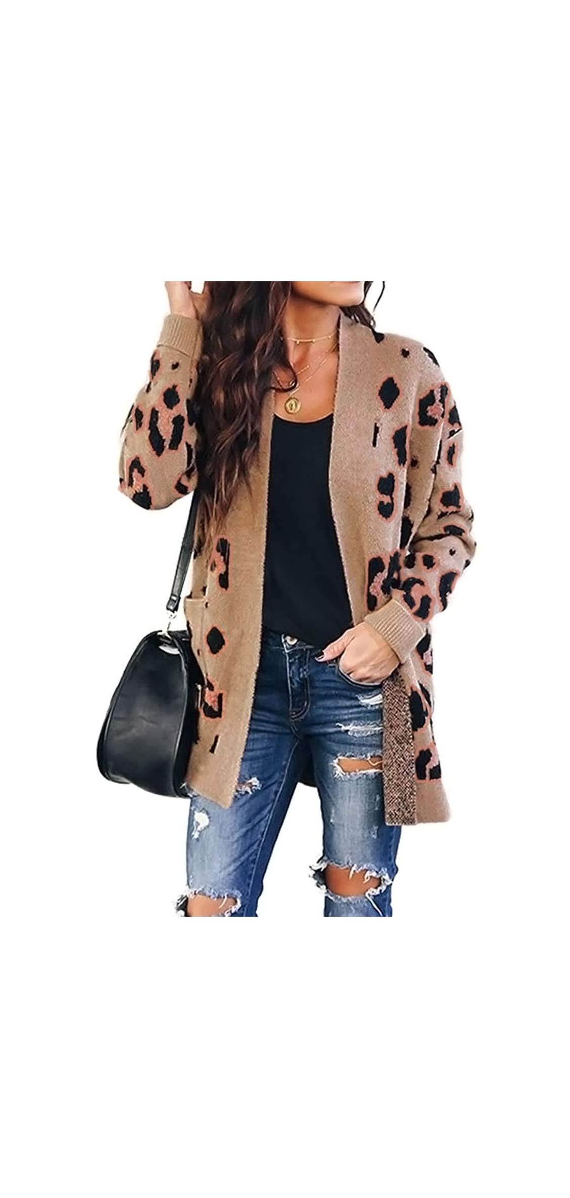 Women's Long Sleeves Open Front Leopard Print Button Down