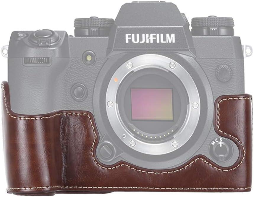 Black MEETBM ZIMO,1//4 inch Thread PU Leather Camera Half Case Base for FUJIFILM X-H1 Color : Coffee