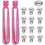 Party Beads Necklaces(12pcs) & Light Up Engagement Diamond Rings(12pcs),Konsait Bachelorette Party Light Up Rings with Bachelorette Party Beads 33inch (Pink & Red)