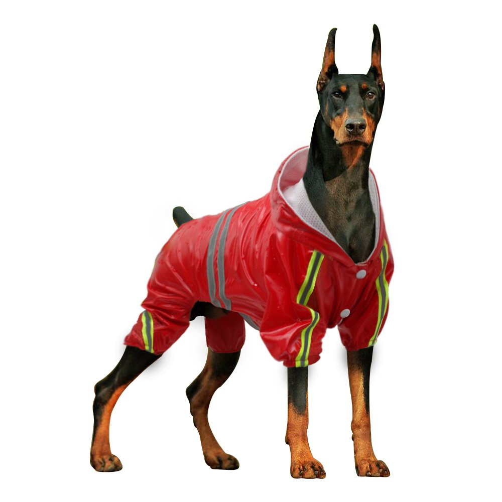 Didog 4 Legs Reflective Dog Raincoat Jacket,Lightweight Waterproof Dog Rainwear Clothes for Small Medium Large Dogs,Red,4XL Size