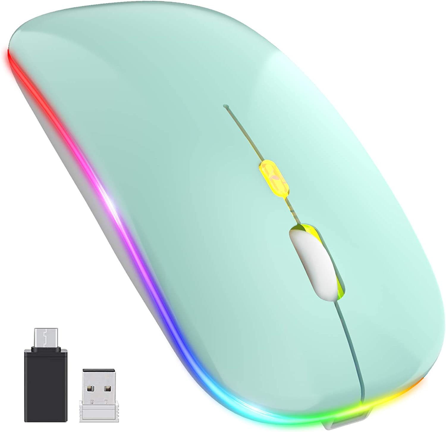 ?Upgrade? LED Wireless Mouse, Slim Silent Mouse 2.4G Portable Mobile Optical Office Mouse with USB & Type-c Receiver, 3 Adjustable DPI Levels for Notebook, PC, Laptop, Computer, MacBook (Mint Green)