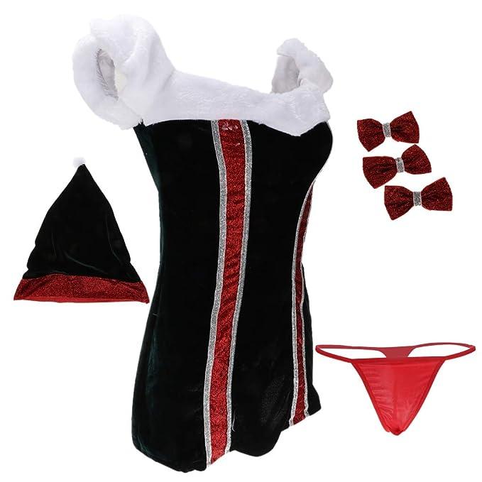 Sharplace Traje de Navidad Vestido Sombrero Ropa Interior Bowknots Disfraces Ropa de Noche Decoración - Negro