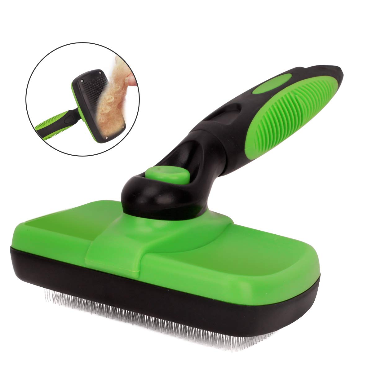 Green Bolux Pet Grooming Brush, Self Cleaning Slicker Brushes Hair Shedding Tools for Grooming Small, Medium & Large Cats and Dogs with Long Thick Hair