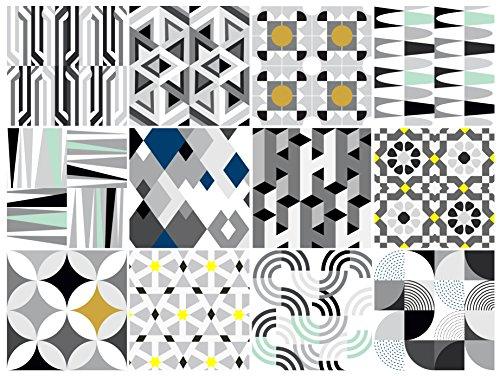 BRIKETO Bauhaus Decorative Tile Stickers Set 12 Units 6x6 inches. Peel & Stick Adhesive Vinyl Tiles. Backsplash. Staircase. Home Decor. Furniture ()