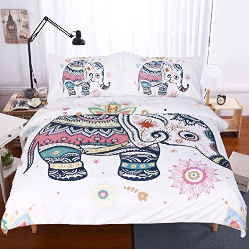 Sleepwish 3 Piece Rainbow Mandala Elephant Duvet Cover Set