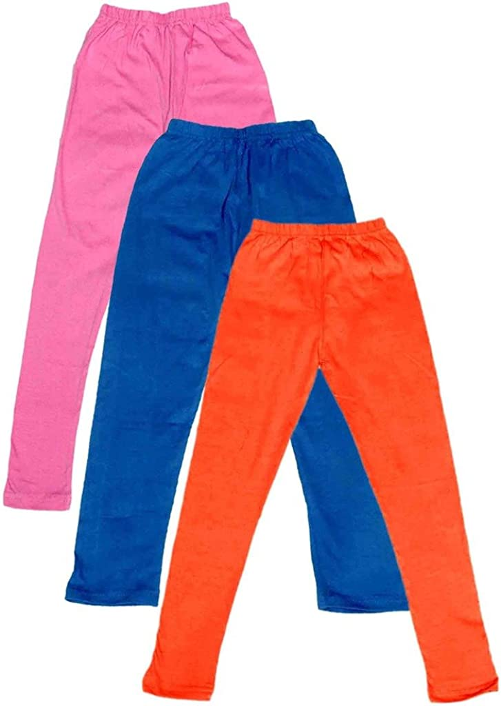 -Multiple Colors-1-3 Years Pack of 3 Indistar Little Girls Cotton Full Ankle Length Solid Leggings