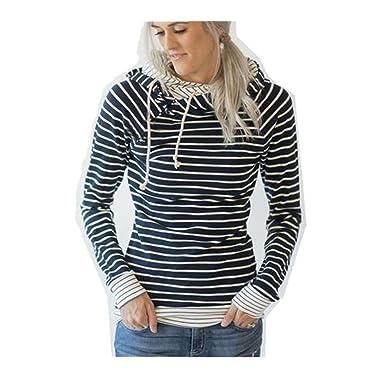85531495429b3 Chemisier Femmes Rayé Sweat à Capuche Tops à Manches Longues T-Shirt Chic  Rétro Élégant Sweat-Shirt Doux Pull Mode Pas Cher 2017 Automne Hiver Haut  ...