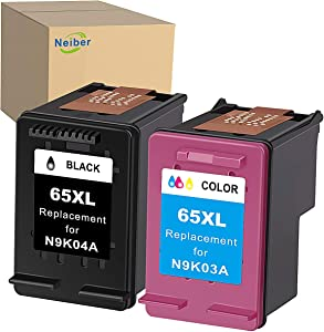 Neiber Remanufactured Ink Cartridge Replacement for HP 65XL 65 XL (Black Tri-Color 2-Pack) Work with Envy 5052 5055 5012 5010 DeskJet 2600 2622 2652 3722 3755 3752 2635 2636 2655 AMP 120 Printer