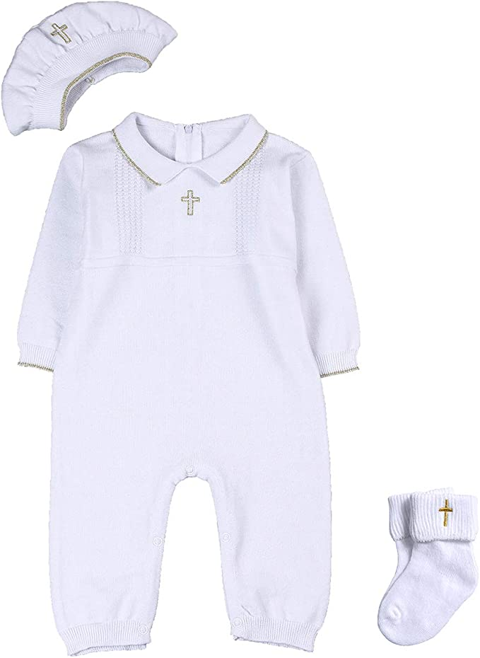 Amazon.com: HAPIU - Conjunto de bautizo con gorro y ...