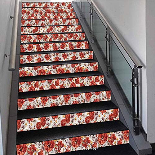 PUTIEN Exquisite Stair Stickers Wall Stickers,13 PCS Self-Adhesive [ House Decor,Blooming Poppies Ladybird