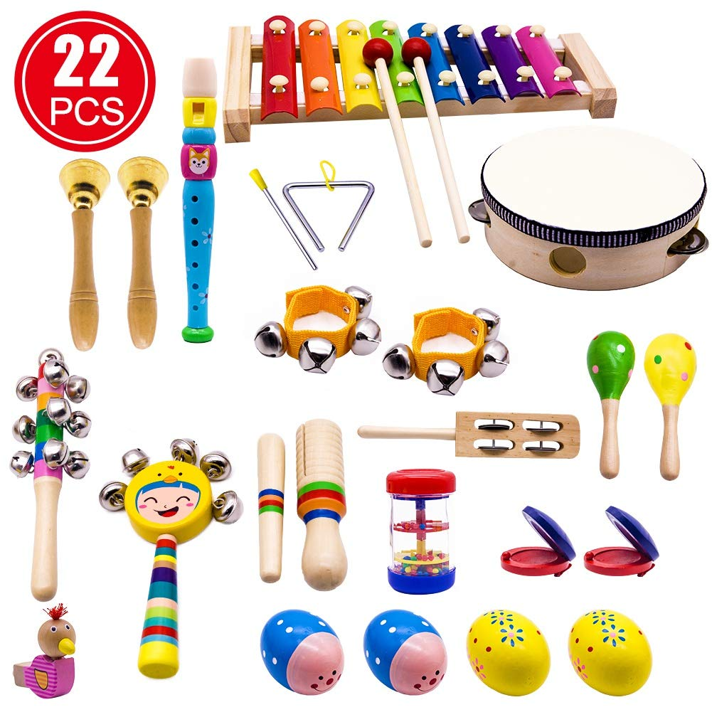 YOFITT Kids Musical Instruments, 15 Types 22pcs Wood Percussion Xylophone Toys for Boys and Girls Preschool Education with Storage Backpack