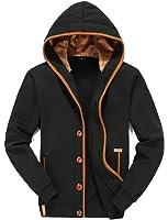Mens Hoodies Button Fly Hooded Sweatshirt Fleece Jacket Casual Slim Coat