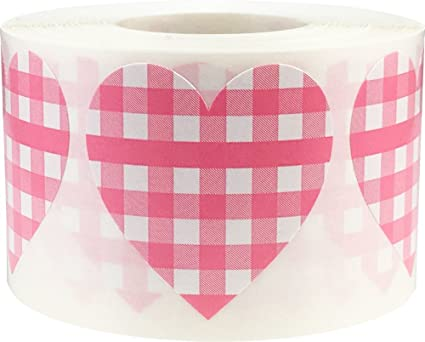 Amazon Com Baby Pink Buffalo Plaid Heart Stickers For Baby Showers