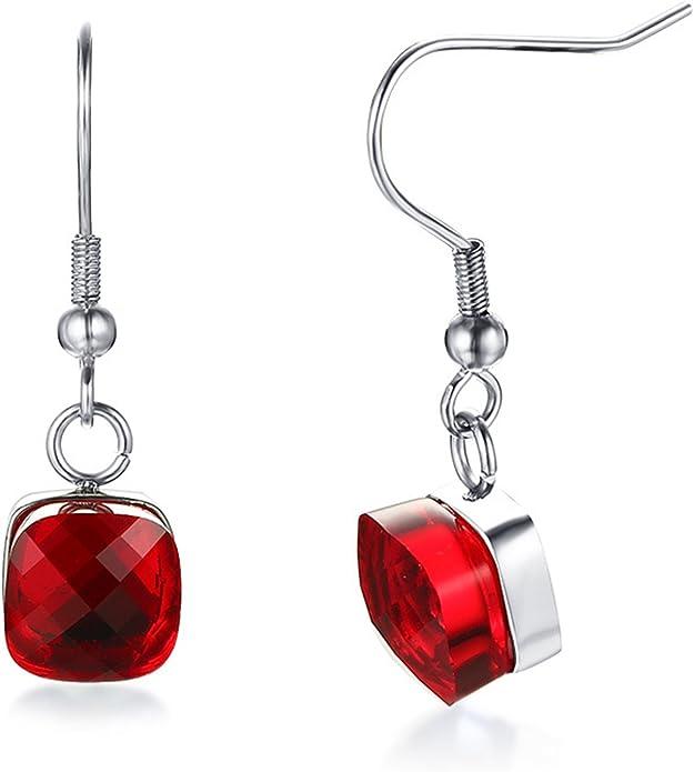 Aokarry Womens Earrings Aokarry Stainless Steel Round-Cut Cubic Zirconia Stud Earrings Red