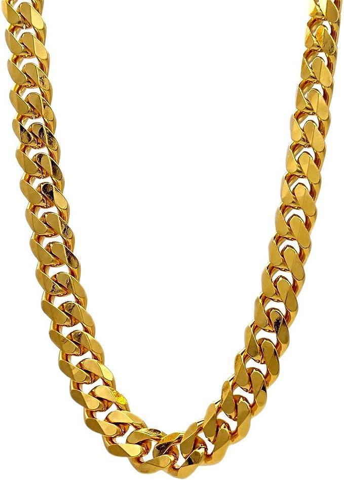 TUOKAY cadena plana de oro de 18 quilates para disfraz de los años ...