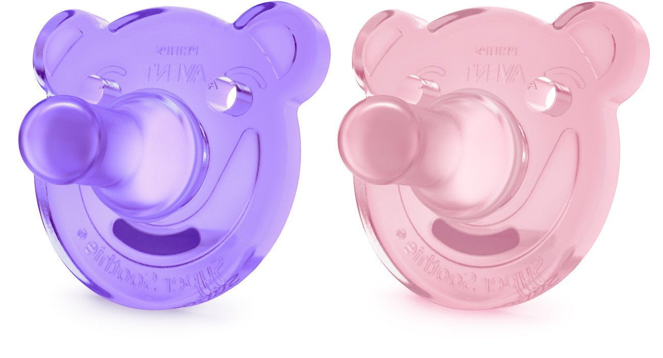 Philips Avent Soothie Bear Shaped Pacifiers, 3 Months Plus, 2-Pack, Pink/Purple SCF194/05