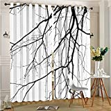 Tile Print Curtains for Bedroom Curtain Close Up Shot of Leafless Branches Idyllic Twigs of Oak Print Black and Window Treatment Set for Living Room(2 Panels, 54″ x 84″) Review
