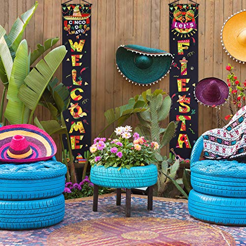 Mexican Fiesta Party Decoration Set Cinco DE Mayo Porch Sign Welcome Fiesta Banner Hanging Decoration for Indoor/Outdoor Fiesta Decoration Mexican Fiesta Party Decorations (Color 15) ()