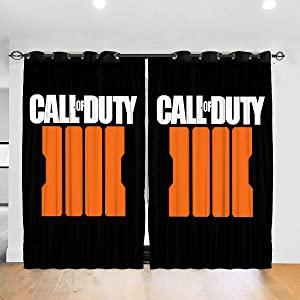 Gaohaifeng8 Call of Duty Black Ops 4 Blackout Curtains for Bedroom/Living Room Energy Saving Curtains 52 X 72 Inch