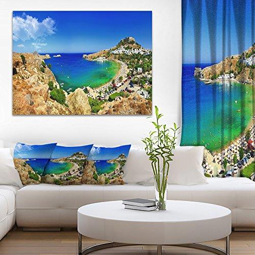 Panorama Landscape (Lindos Bay Greece Panorama - Landscape Photography Canvas Print - 20x12)