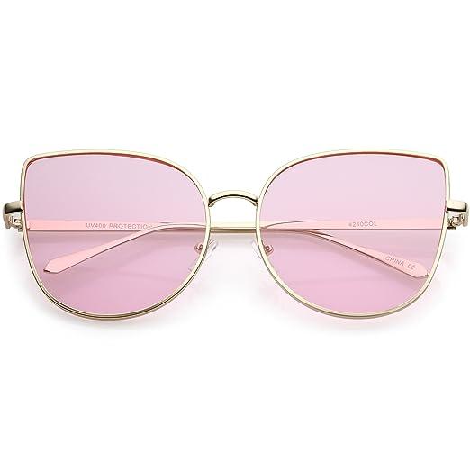 4541548ea84 sunglassLA - Oversize Metal Cat Eye Sunglasses Round Color Tinted Flat Lens  60mm (Gold
