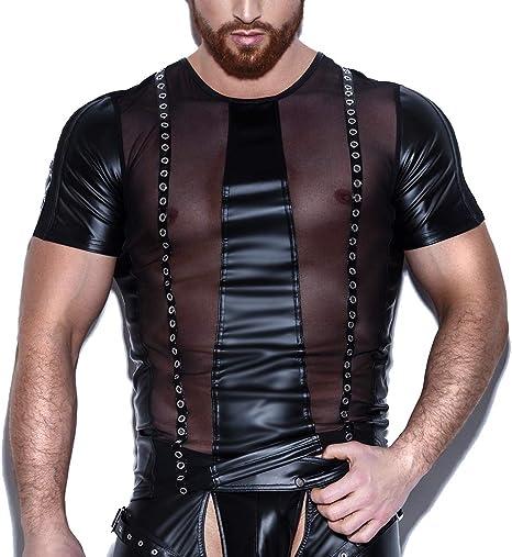 KILLM Sexy Hombre Cuero Wet Look Camisa Elástica Lencería Chaleco Camiseta Ajustada con Tirantes de Malla de Charol: Amazon.es: Deportes y aire libre