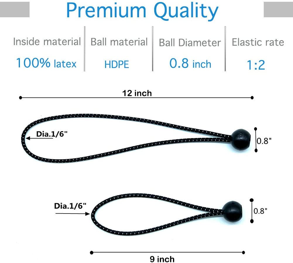 Poles Joyeyou 12 inch Ball Bungee Cords Wires Black 25-Pack Tarp Elastic String for Canopy Straps Tent