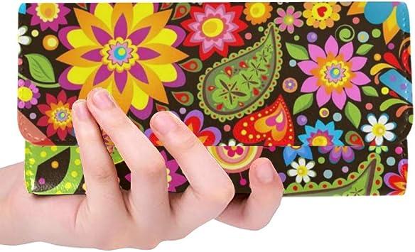 Fondo único Hippie Simbólico Mujeres Tríptico Monedero Monedero Largo Titular de la Tarjeta de crédito Estuche Bolso: Amazon.es: Equipaje