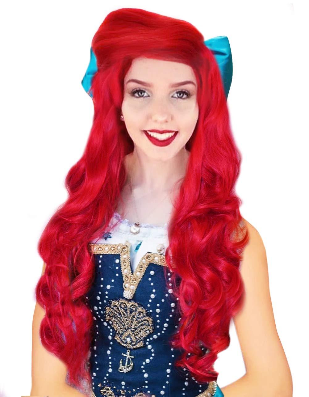 Adult Women/'s Long Red Little Mermaid Bangs Ariel Jessica Rabbit Costume Wig