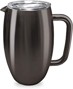 True North Stainless Steel Insulated Pitcher + Carafe with No-Spill BPA Free Triton Lid, Keeps Drinks Hot or Cold for 24 Hours, Perfect for Lemonade, Sangria, Coffee or Milk, 50 oz, Jewel Charcoal