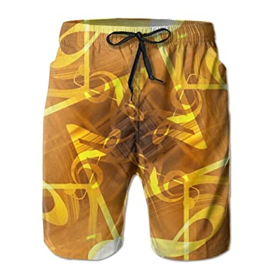 Mens Musical Notes Shorts Pockets Swim Trunks Beach Shorts,Boardshort
