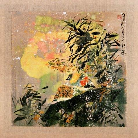 Oil Painting 'Chinese Bird-and-Flower Painting', 12 x 12 inch / 30 x 30 cm , on High Definition HD canvas prints is for Gifts And Bath Room, Home Theater And Nursery Decoration, simply