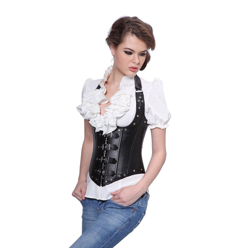 Amazon.com  Muka Women s Faux Leather Steel Boned Buckles Shoulder Straps Underbust  Corset  Clothing fa4057ecd