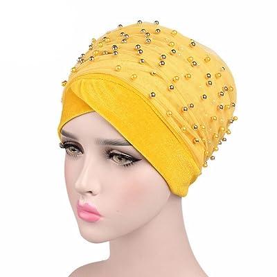 Bigood Turban Vogue Perles Foulard Islamique Femme Chapeau Bonnet Doux