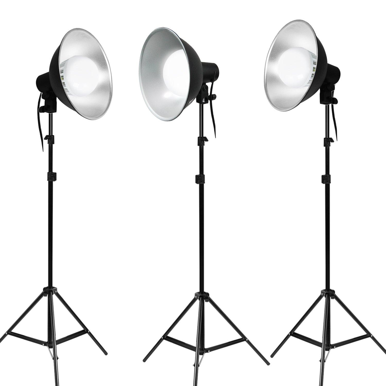 Julius Studio Photo Studio Continuous Lighting Kit with Bowl Reflector Light Head, Energy Saving LED Light Bulb and Light Stand Tripod, PR07_AM1(V2)
