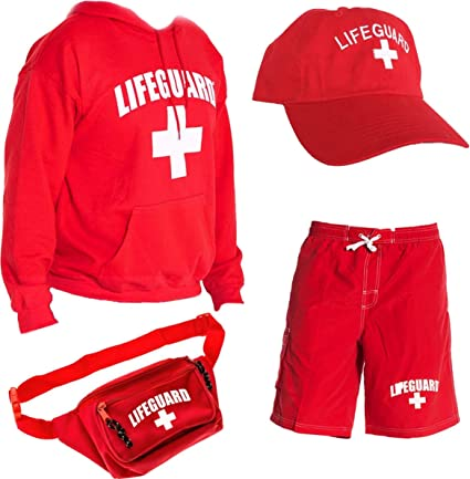 LIFEGUARD Officially Licensed Mens Halloween Costume Combo Pack Hoodie, Shorts, Hat, Fanny Pack