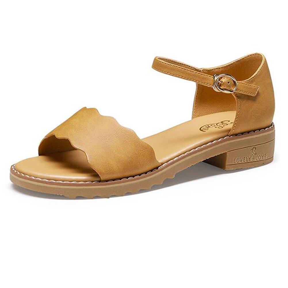 Jingsen Sandalias Femeninas Estudiantes De Verano Salvaje Casual Punta Abierta Palabra Hebilla Zapatos Universitarios (Color : Yellow Brown, Tamaño : 39) 39|Yellow Brown